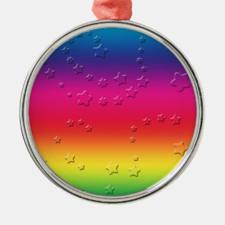 Rainbow Stars Silver-Colored Round Decoration