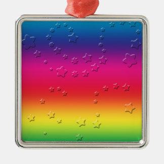 Rainbow Stars Silver-Colored Square Decoration
