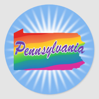 Rainbow State Of Pennsylvania Round Sticker