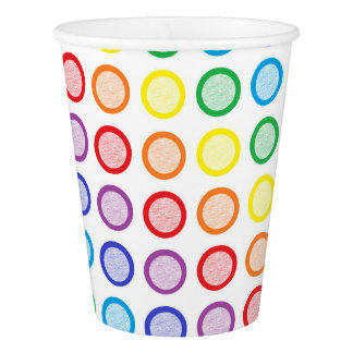 Rainbow Static Circles Paper Cup