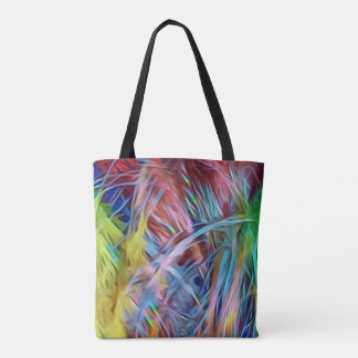 Rainbow Strands of Hair Abstract Art Tote Bag