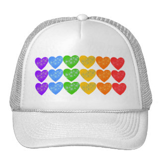 Rainbow String of Hearts with Stars Hats