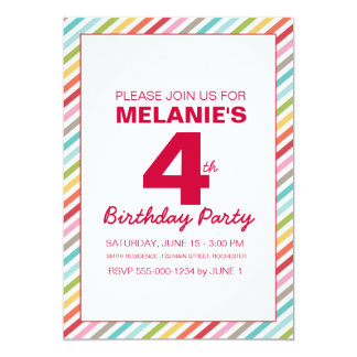 Rainbow Stripe Birthday Invitation