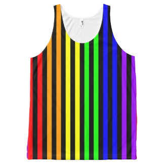 Rainbow Striped All-Over Print Singlet