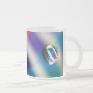 Rainbow Striped Bubbles Frosted Glass Coffee Mug