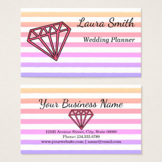 Rainbow Striped Diamond Illustration Business Card