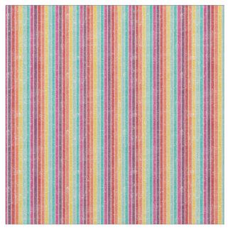 Rainbow Striped Retro Print Combed Cotton Fabric