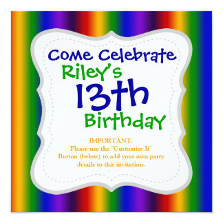 Rainbow Stripes Abstract Blur Colorful Gifts 13 Cm X 13 Cm Square Invitation Card
