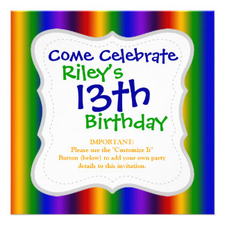 Rainbow Stripes Abstract Blur Colorful Gifts Personalized Announcements
