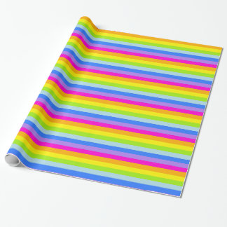 Rainbow stripes bright coloured patterned wrap wrapping paper