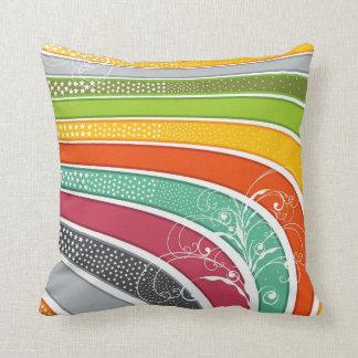 Rainbow Stripes Colorful Flourish Stars Cushion Throw Pillow