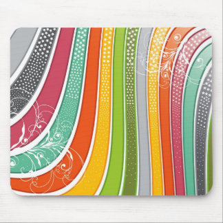 Rainbow Stripes Colorful Flourish Stars Mousepad