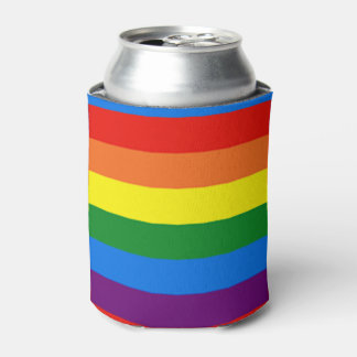 Rainbow Stripes Gay Pride LGBT Support Custom Can Cooler