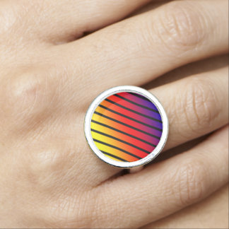Rainbow Stripes Geometrical Round Silver Ring. Ring