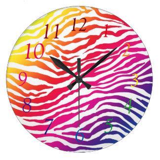 Rainbow Stripes Large Clock