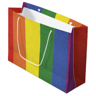 Rainbow stripes large gift bag