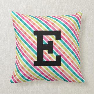 Rainbow Stripes Monogram Throw Pillow