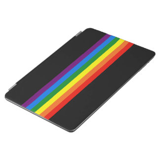 Rainbow Stripes on Black Gay Pride LGBT Support iPad Air Cover