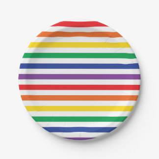 Rainbow Stripes Paper Plate