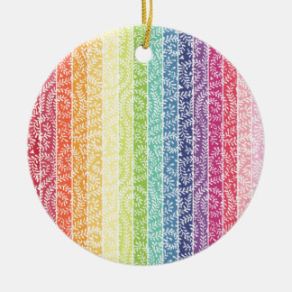 Rainbow Stripes Round Ceramic Decoration