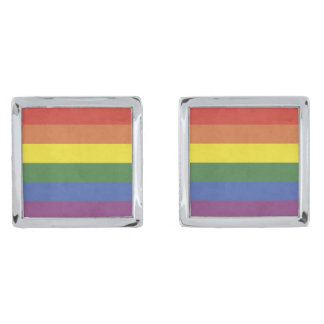 Rainbow stripes silver finish cufflinks