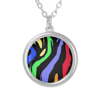 Rainbow Stripes Silver Plated Necklace