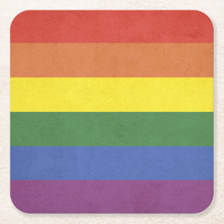 Rainbow stripes square paper coaster