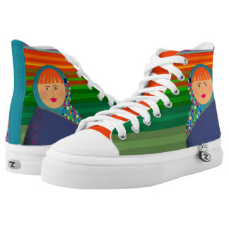 Rainbow Stripes Vibrant Matryoshka Colorful Bold High Tops