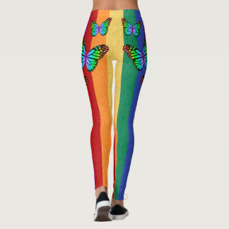 Rainbow Stripes with Colorful Butterflies Leggings