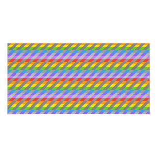 Rainbow Stripes with Gray. Photo Card