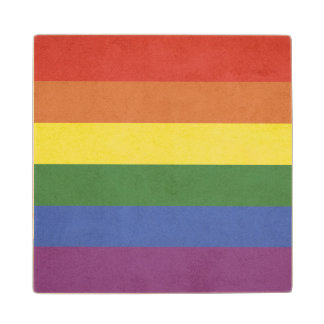 Rainbow stripes wood coaster