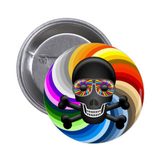 Rainbow Sugar Skull Pinback Button