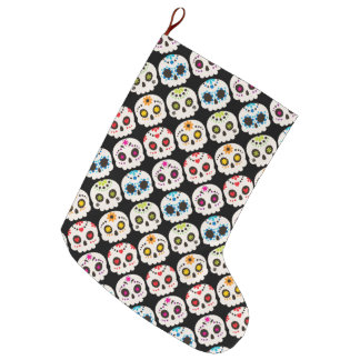 Rainbow Sugar Skull Large Christmas Stocking
