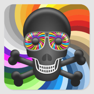Rainbow Sugar Skull Square Sticker