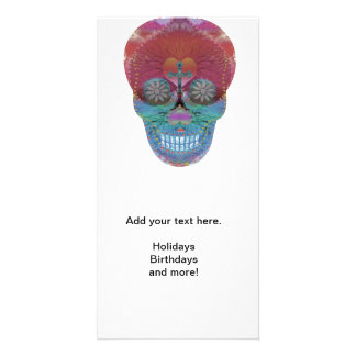 Rainbow sugar skull with tree of life and hearts personalized photo card