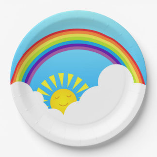 Rainbow sun and clouds paper plate