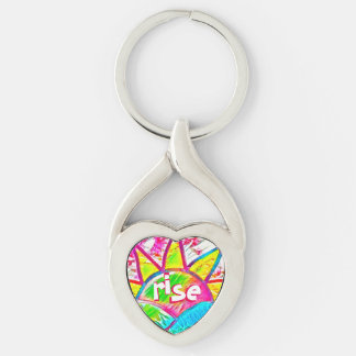Rainbow Sun Rise ~ Uplifting Message Silver-Colored Twisted Heart Key Ring