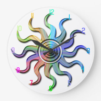 Rainbow Sun Wavy Rays Design Clock