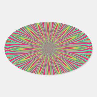 Rainbow sunflower abstract oval sticker