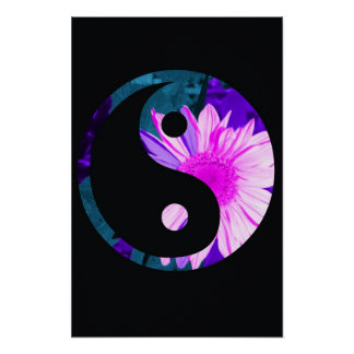 Rainbow Sunflower Yin Yang Poster