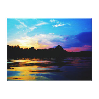 Rainbow sunset on mountain Lake Stretched Canvas Prints