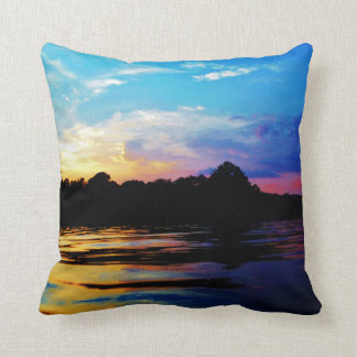 Rainbow Sunset on mountain Lake Throw Pillow