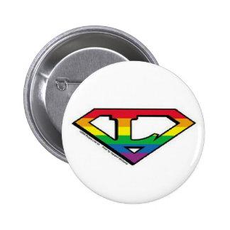 rainbow super hero lesbian button