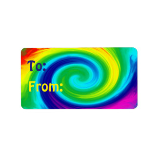 Rainbow Swirl Abstract Art Design Address Label