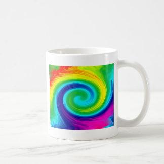 Rainbow Swirl Abstract Art Design Basic White Mug