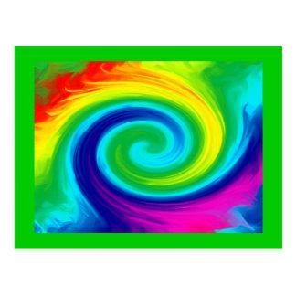 Rainbow Swirl Abstract Art Design Postcard