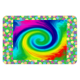 Rainbow Swirl Abstract Art Design Rectangular Photo Magnet