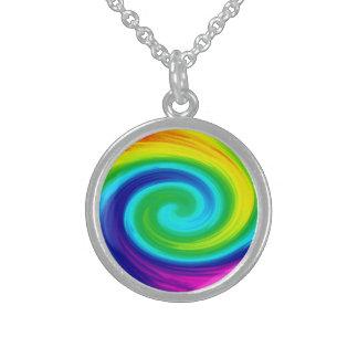 Rainbow Swirl Abstract Art Design Round Pendant Necklace