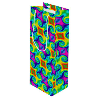 Rainbow Swirl Abstract Art Design Wine Gift Bag