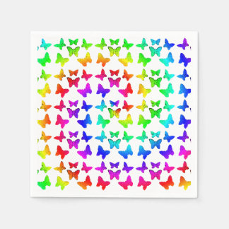 Rainbow Swirl Butterflies Disposable Serviette